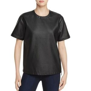 Kenneth Cole leather tee with zip detail